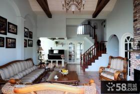 美式田园风格别墅客厅装修效果图片