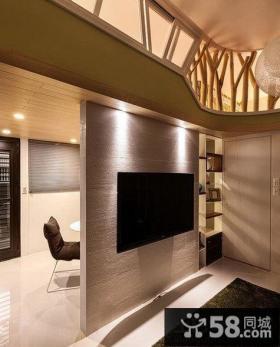 日式小客厅电视背景墙装修图片
