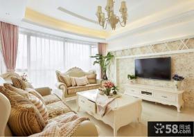 欧式客厅壁纸电视背景墙设计图片