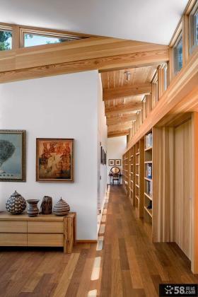 密林中的现代风格别墅过道装修效果图大全2014图片