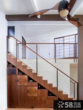 小复式实木楼梯柜图片