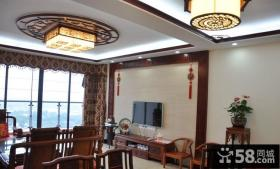 中式家庭客厅电视背景墙装修效果图
