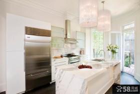 简欧风格吧台式厨房家装图片