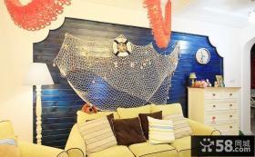地中海风格客厅沙发背景墙装饰效果图