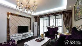 新古典欧式客厅软包电视背景墙效果图