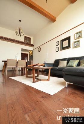 中式简约复式楼客厅装修效果图