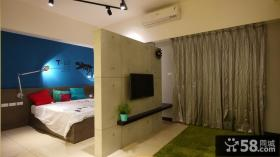 简易风格卧室隔断装修电视背景墙