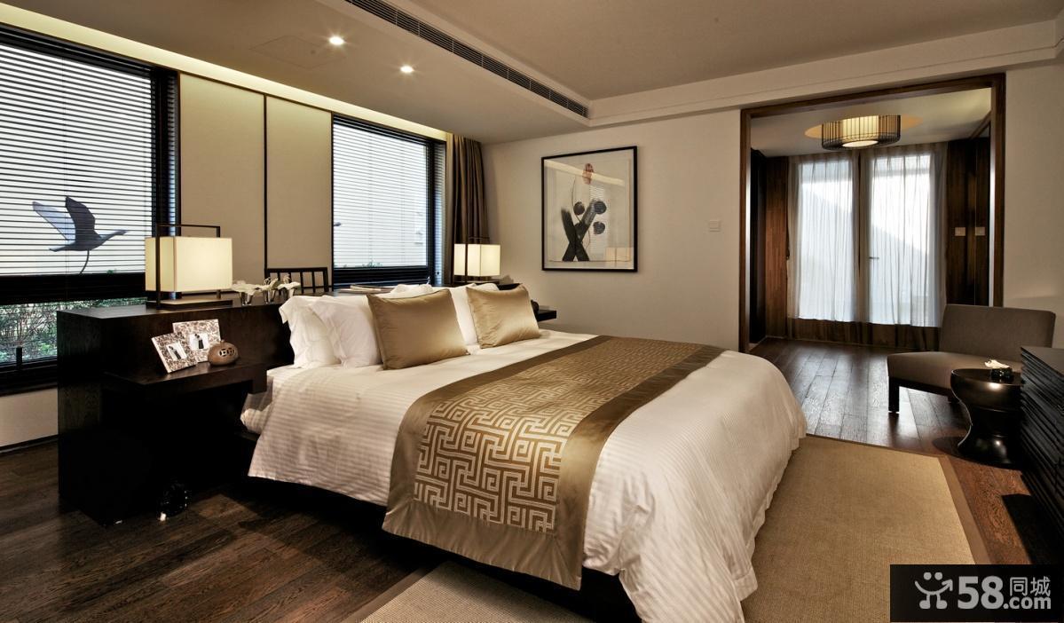 现代中式风格别墅卧室装修效果图
