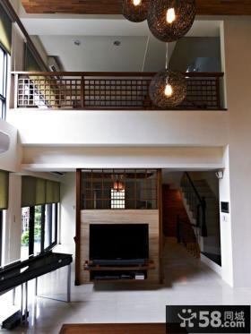 中式风格复式客厅电视背景墙图片