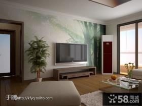 新中式客厅电视背景墙墙绘效果图