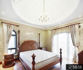 美式卧室实木床装修图片