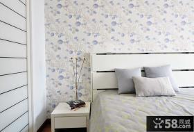 现代田园风格卧室墙纸图片