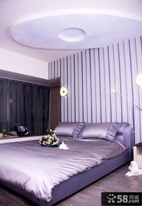 紫色卧室背景墙壁纸