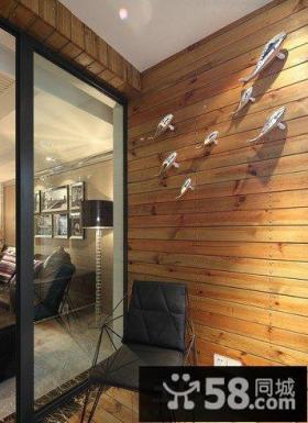美式风格客厅与阳台隔断效果图