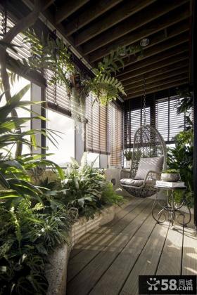 现代田园风格高层阳台装修效果图
