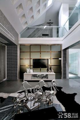 现代风格自建别墅客厅电视背景墙装修图片欣赏