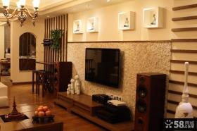 东南亚风格客厅电视背景墙效果图大全2013图片
