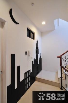 现代楼梯间创意墙画装修