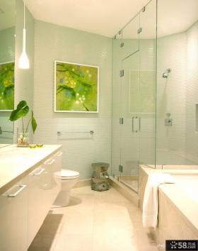 简约风格复式楼卫生间玻璃隔断图片