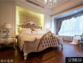 欧式风格两室两厅卧室床头背景墙效果图