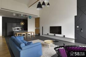 简约loft小户型客厅装修图大全2014图片