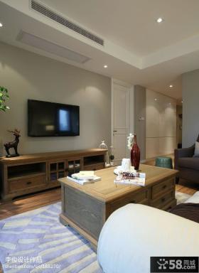 现代美式风格客厅电视机背景墙效果图欣赏