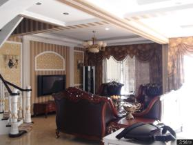 别墅客厅电视背景墙壁纸效果图