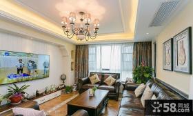 复古美式风格小户型客厅设计装修图片