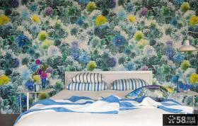 田园风格卧室壁纸效果图片