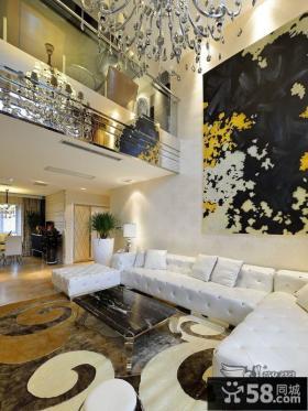 别墅装修样板间挑高客厅效果图