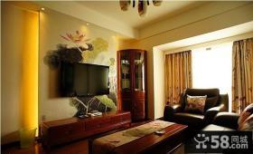 客厅电视背景墙中式荷花墙纸贴图