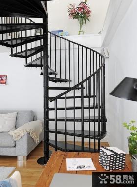 跃层美步旋转楼梯图片