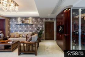 中式风格进门客厅玄关装修效果图