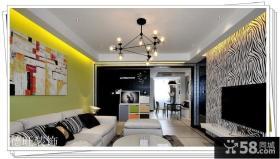 整体客厅黑白条纹电视背景墙效果图