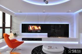 现代客厅黑白电视背景墙装修效果图片