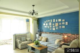 地中海客厅照片墙装饰效果图