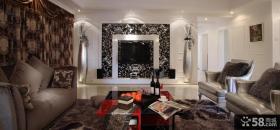 新古典主义风格客厅电视背景墙效果图