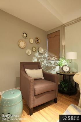 现代美式客厅单人沙发背景墙效果图
