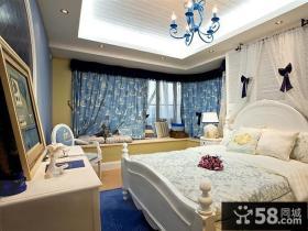 蓝蓝的地中海风格装修卧室图片