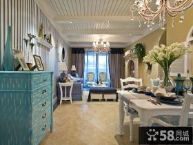 蓝蓝的地中海风格餐厅吊顶装修图片