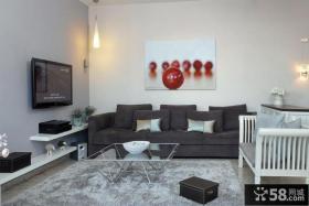 简单客厅液晶电视背景墙装修效果图