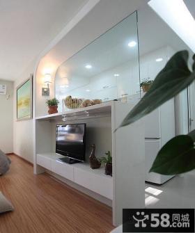 室内白色装修客厅电视背景墙图片欣赏