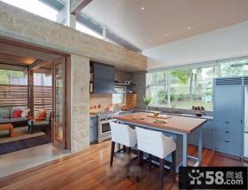 欧美风格别墅一体式厨房装饰图片