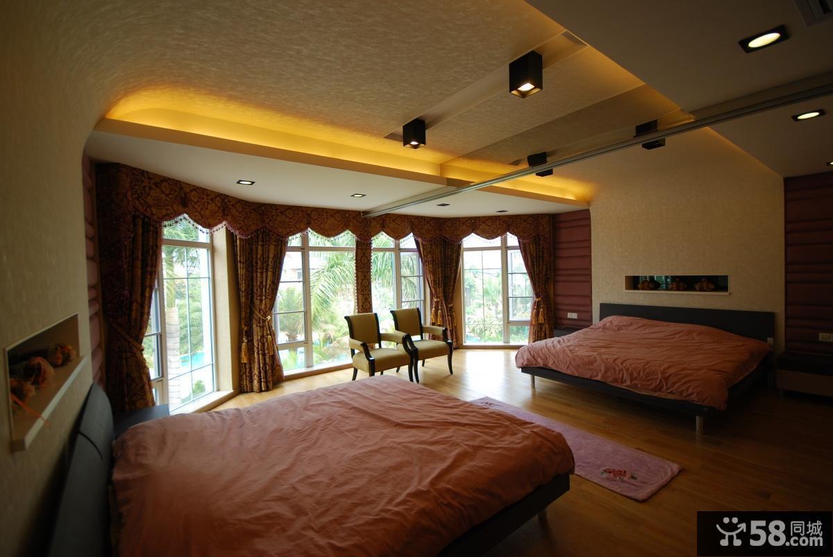 美式简约主卧室窗帘效果图图片