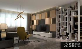 极简设计别墅室内电视背景墙装饰效果图