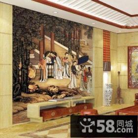 中式古典沙发背景墙壁画效果图