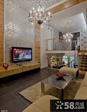 复式楼客厅电视背景墙装修效果图欣赏