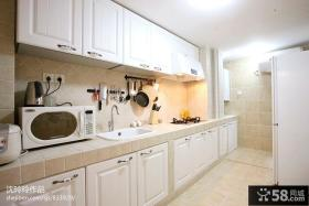 简欧一字型厨房橱柜装修效果图欣赏