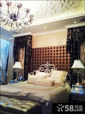 别墅卧室床头软包背景墙效果图欣赏