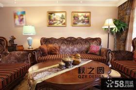 美式客厅墙上装饰画效果图